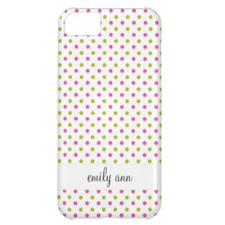Pink and Green Polka Dot Pattern Case For iPhone 5C