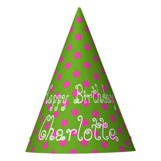 Pink and Green Polka Dot Personalized Party Hat