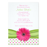"Pink and Green Polka Dots Baby Shower Invitation 5"" X 7"" Invitation Card"