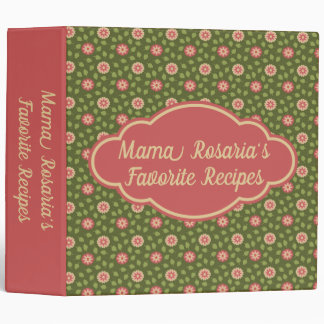 Pink and Green Posies Personalized Recipe Binder