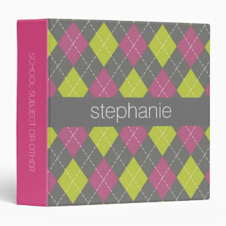 Pink and Green Preppy Argyle Plaid Pattern Binder