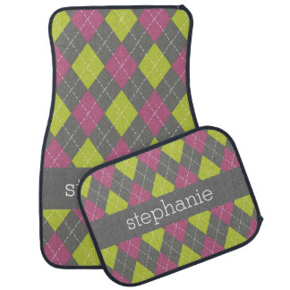 Pink and Green Preppy Argyle Plaid Pattern Car Mat