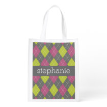 Pink and Green Preppy Argyle Plaid Pattern Grocery Bag