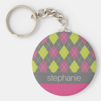 Pink and Green Preppy Argyle Plaid Pattern Keychain