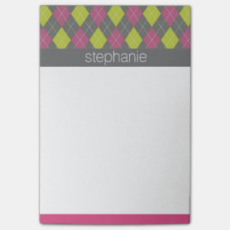Pink and Green Preppy Argyle Plaid Pattern Post-it® Notes