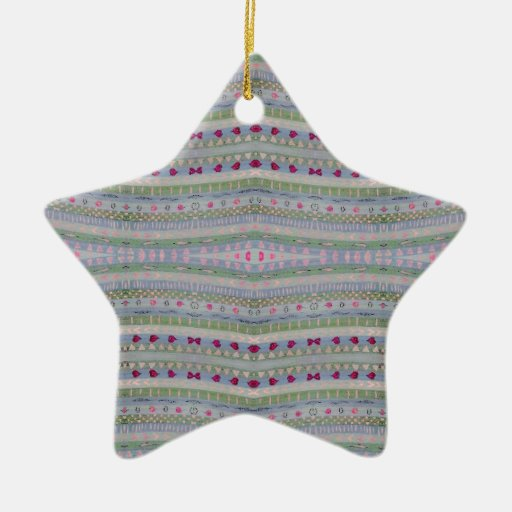 Pink and Green Pretty Hearts Pattern Double-Sided Star Ceramic Christmas Ornament