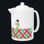 "Pink and green Pretty tea pot<br><div class=""desc"">Cute pink and green girly tea pot. Monogram name template that you can customize</div>"