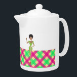 """Pink and green Pretty tea pot<br><div class=""""desc"""">Cute pink and green girly tea pot. Monogram name template that you can customize</div>"""