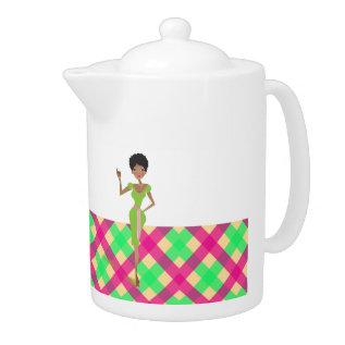 Pink And Green Pretty Tea Pot at Zazzle