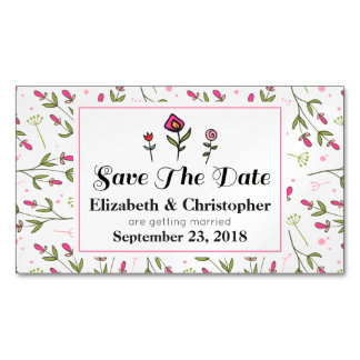 Pink and Green Pretty Wildflowers Save The Date Magnetic Business Card