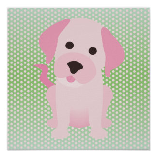 Pink and Green Puppy Dog Posters