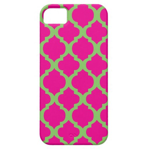 Pink and green quatrefoil iPhone 5 covers