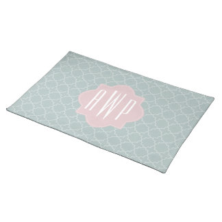 Pink and Green Quatrefoil Monogram Cloth Placemat