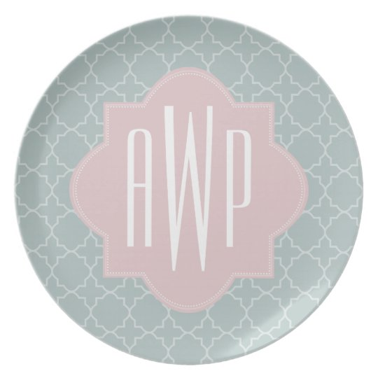 Pink and Green Quatrefoil Monogram Dinner Plate