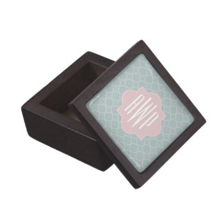 Pink and Green Quatrefoil Monogram Premium Gift Box