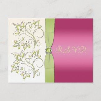 Pink and Green R.S.V.P. Postcard postcard