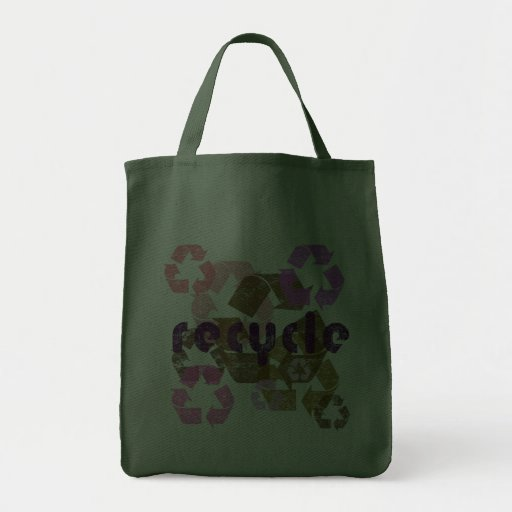 Pink and Green Recycle Logo Reusable Grocery Bag