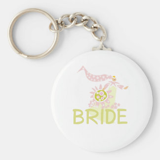 Pink and Green Retro Bride Key Chains