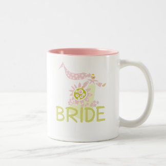 Pink and Green Retro Bride Two-Tone Coffee Mug
