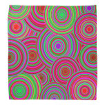 Pink and Green Retro Circles Pattern Bandanas