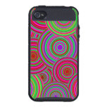Pink and Green Retro Circles Pattern Cover For iPhone 4