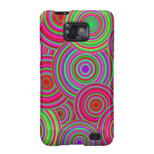 Pink and Green Retro Circles Pattern Samsung Galaxy Cases