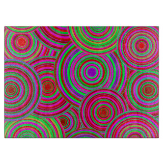 Pink and Green Retro Circles Pattern Cutting Board