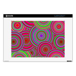 "Pink and Green Retro Circles Pattern Decal For 13"" Laptop"