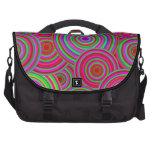 Pink and Green Retro Circles Pattern Laptop Bag