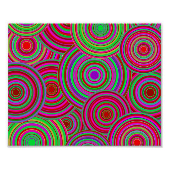 Pink and Green Retro Circles Pattern Poster