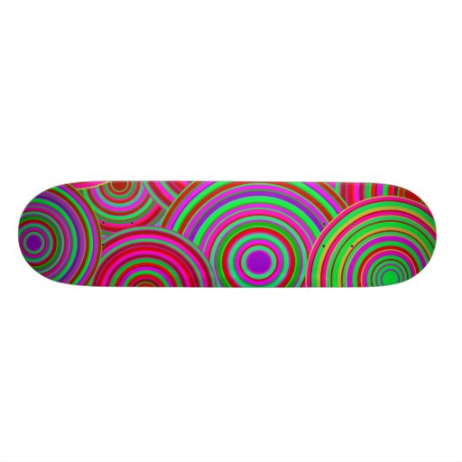 Pink and Green Retro Circles Pattern Skate Board Decks