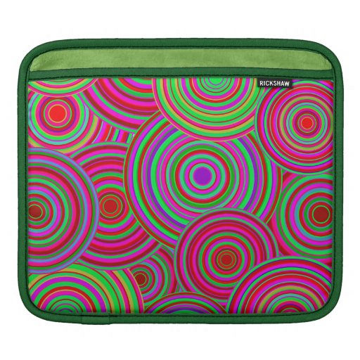 Pink and Green Retro Circles Pattern Sleeves For iPads