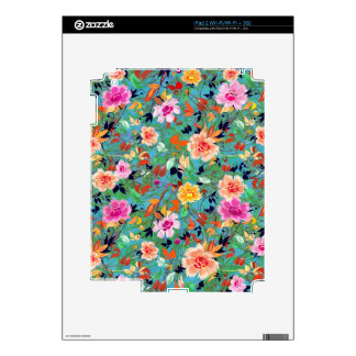Pink And Green Retro Flowers Pattern Decals For iPad 2
