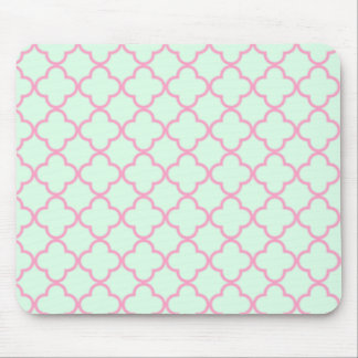 Pink and Green Retro Inspired Seamless Pattern Mouse Pad