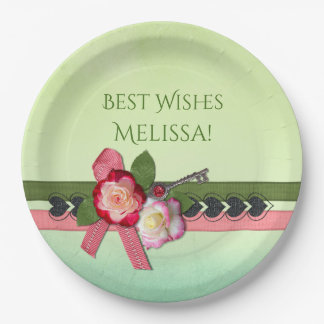 Pink and Green Ribbons and Flowers Bridal Shower Paper Plate