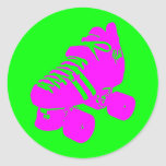 Pink and Green Roller Derby Skate Sticker