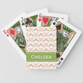 Pink and Green Rose Bicycle® Playing Cards