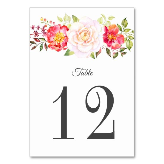 Pink and Green Roses Matching Greenery Table Cards