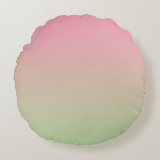 Pink And Green Round Pillow
