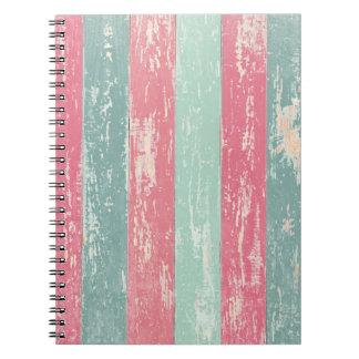 Pink and Green Rustic Wooden Fence Grunge Texture Spiral Notebooks