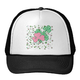 Pink and Green Shamrock Products Mesh Hat