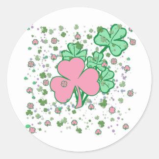 Pink and Green Shamrocks Round Stickers
