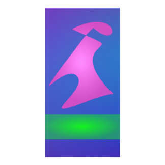 Pink and Green Shapes on Blue Background Card