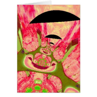 Pink and Green Smiling Frogs Abstract Card