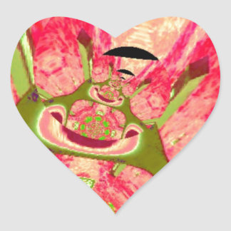 Pink and Green Smiling Frogs Abstract Heart Sticker