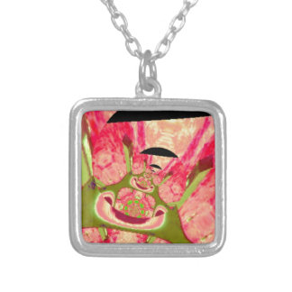 Pink and Green Smiling Frogs Abstract Necklace