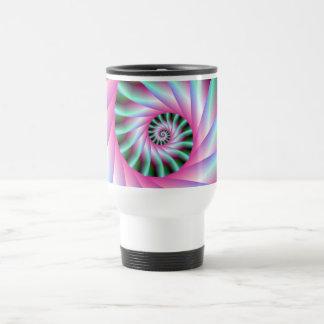 Pink and Green Spiral Steps Travel Mug
