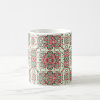 Pink and Green Square Kaleidoscope Pattern Coffee Mug