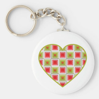 Pink and Green Squares Heart Keychain