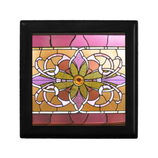 Pink and green stained glass trinket box